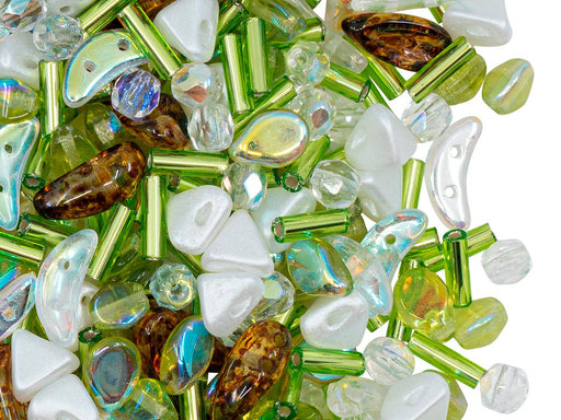 Glass Bead Mix , Olivine AB White, Czech Glass