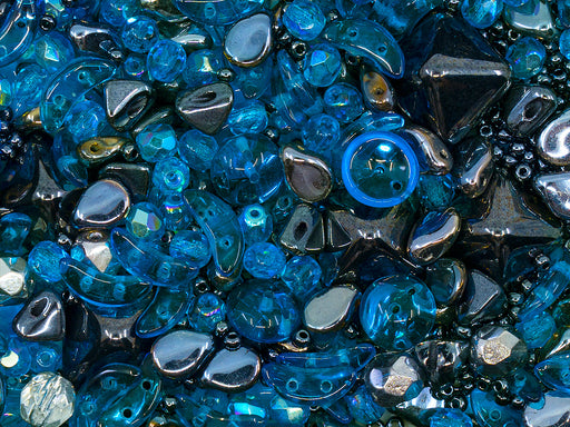 35 g Glass Bead Mix , Blue-Hematite, Czech Glass