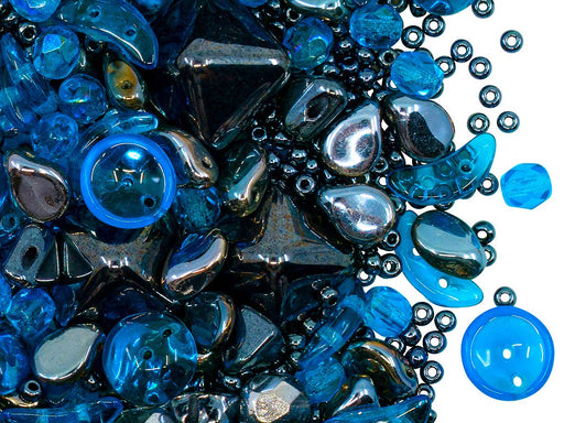 Glass Bead Mix , Blue Hematite, Czech Glass