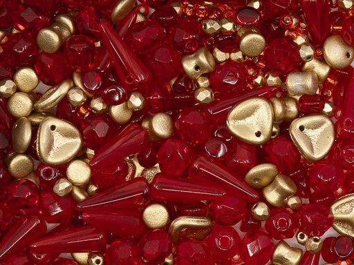 35 g Glass Bead Mix , Red-Gold, Czech Glass