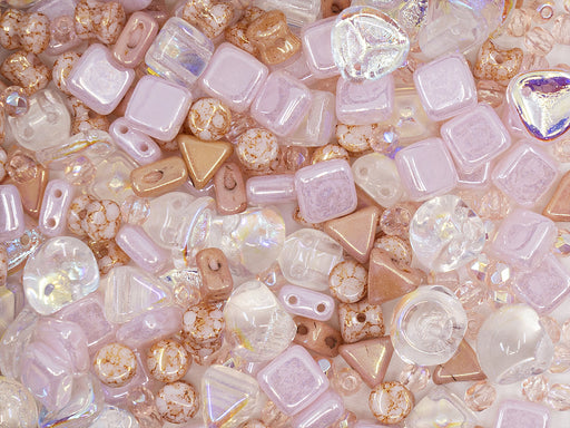 35 g Glass Bead Mix , Opal Pink-Rose, Czech Glass