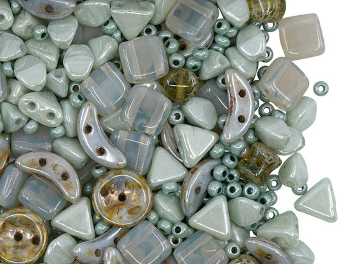 Glass Bead Mix , Opaque Light Green Opal Gray, Czech Glass