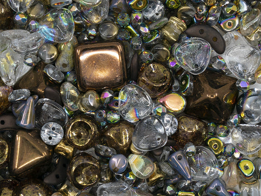 35 g Glass Bead Mix , Crystal AB-Bronze, Czech Glass