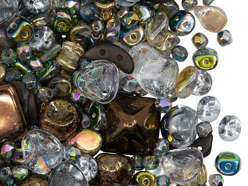 Glass Bead Mix , Crystal AB Bronze, Czech Glass