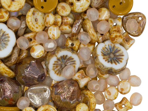 Glass Bead Mix , Yellow Brown Travertine, Czech Glass