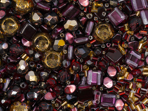 35 g Glass Bead Mix , Burgundy-Gold, Czech Glass