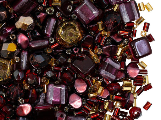 Glass Bead Mix , Burgundy Gold, Czech Glass