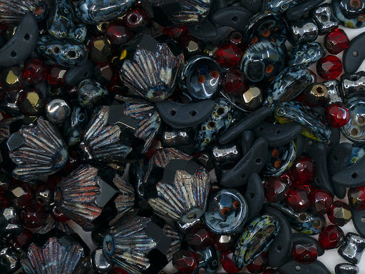 35 g Glass Bead Mix , Black-Ruby, Czech Glass