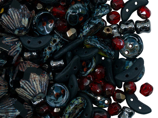 Glass Bead Mix , Black Ruby, Czech Glass