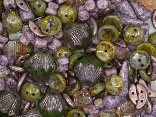 35 g Glass Bead Mix , Purple Marble-Green Picasso, Czech Glass