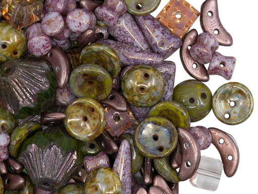Glass Bead Mix , Purple Marble Green Picasso, Czech Glass