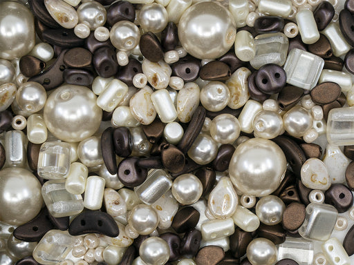 35 g Glass Bead Mix , Ivory-Dark Brown, Czech Glass