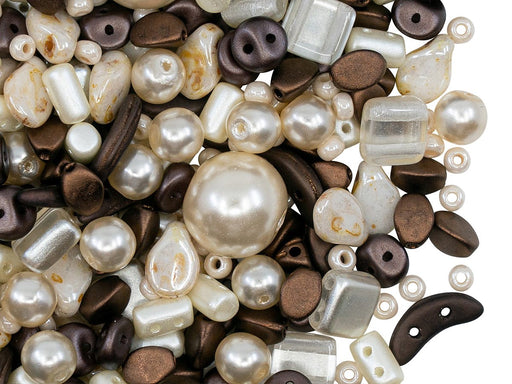 Glass Bead Mix , Ivory Dark Brown, Czech Glass