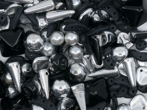 35 g Glass Bead Mix , Silver-Black, Czech Glass