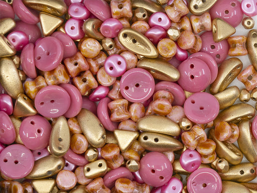 35 g Glass Bead Mix , Pink-Gold, Czech Glass