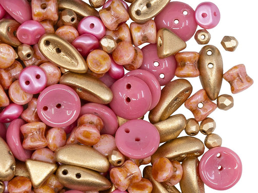 Glass Bead Mix , Pink Gold, Czech Glass