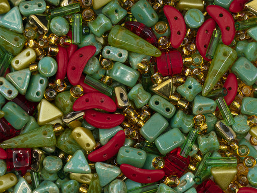 35 g Glass Bead Mix , Green-Red-Amber, Czech Glass