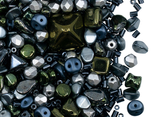 35 g Glass Bead Mix , Hematite-Green-Silver, Czech Glass