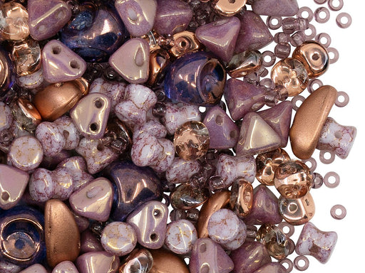 Glass Bead Mix , Purple Gold, Czech Glass