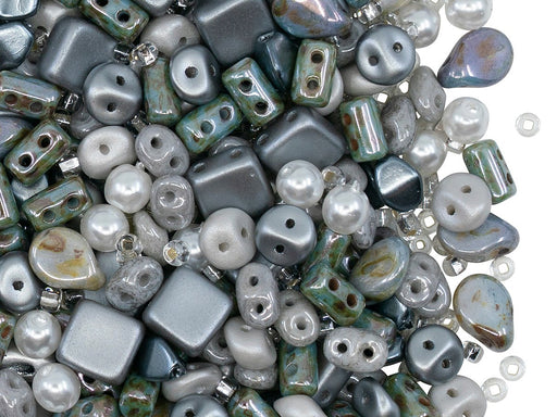 Glass Bead Mix , Lazure Blue Gray, Czech Glass