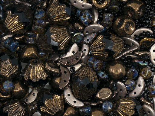 35 g Glass Bead Mix , Black-Bronze, Czech Glass