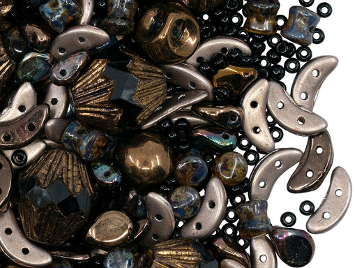 Glass Bead Mix , Black Bronze, Czech Glass