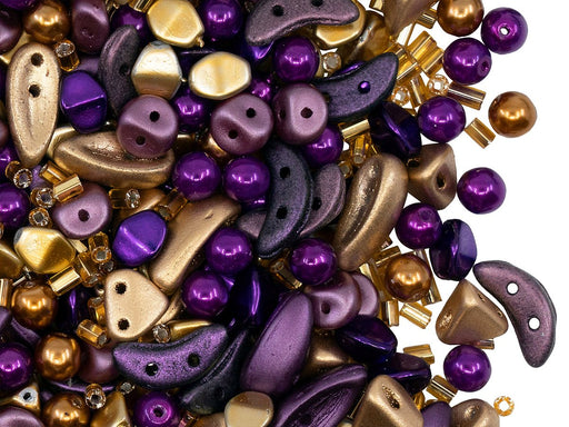 Glass Bead Mix , Gold Metallic Violet, Czech Glass