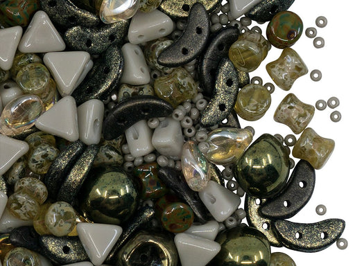 Glass Bead Mix , Olive Green Gray, Czech Glass