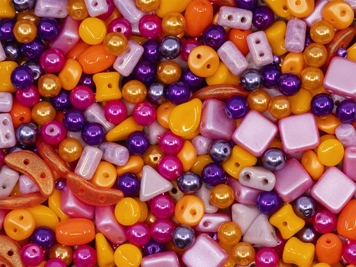 35 g Glass Bead Mix , Orange-Purple-Pink, Czech Glass