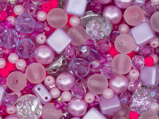 35 g Glass Bead Mix , French Rose Fuchsia, Czech Glass