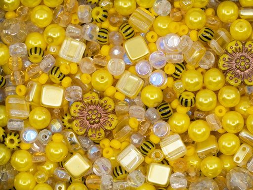 35 g Glass Bead Mix , Jonquil Yellow Goldenrod, Czech Glass