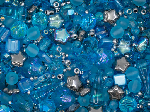 35 g Glass Bead Mix , Turquoise Azure Distance, Czech Glass
