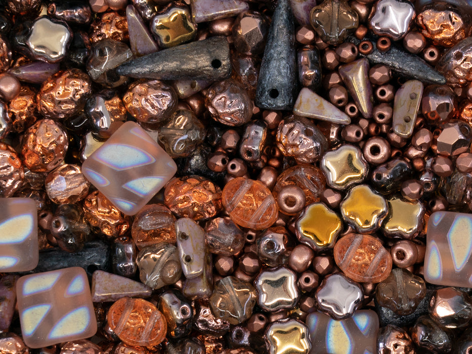 35 g Glass Bead Mix , Bronze Copper, Czech Glass