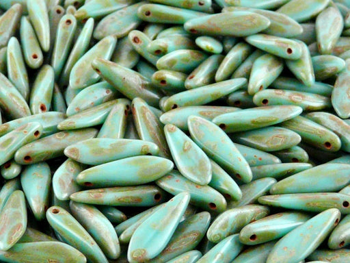 25 pcs Dagger Pressed Beads, 5x16mm, Opaque Turquoise Green Travertine, Czech Glass