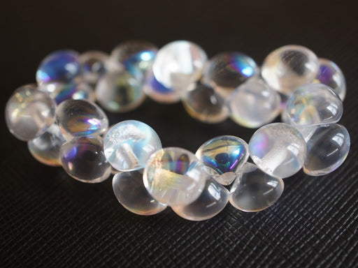 25 pcs Mushroom Button Pressed Beads, 9x8mm, Crystal AB, Czech Glass