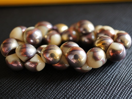 25 pcs Mushroom Button Pressed Beads, 9x8mm, Opaque Ivory Capri Gold, Czech Glass