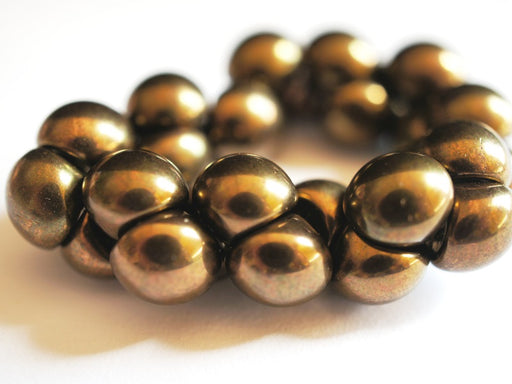 25 pcs Mushroom Button Pressed Beads, 9x8mm, Jet Bronze Luster, Czech Glass