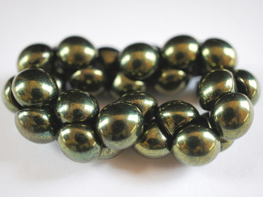 25 pcs Mushroom Button Pressed Beads, 9x8mm, Jet Green Luster, Czech Glass