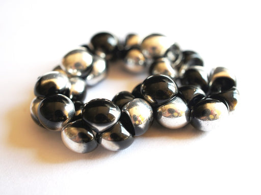 25 pcs Mushroom Button Pressed Beads, 9x8mm, Jet Silver (Jet Labrador), Czech Glass