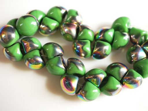 25 pcs Mushroom Button Pressed Beads, 9x8mm, Opaque Green Vitrail, Czech Glass