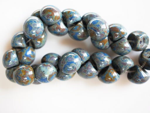 25 pcs Mushroom Button Pressed Beads, 9x8mm, Opaque Dark Blue Travertine, Czech Glass