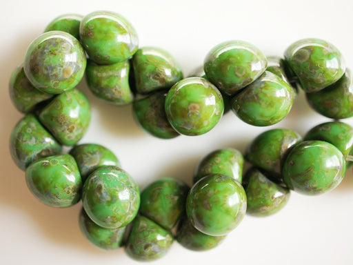 25 pcs Mushroom Button Pressed Beads, 9x8mm, Opaque Dark Green Travertine, Czech Glass
