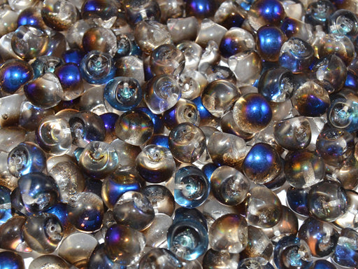 25 pcs Mushroom Button Pressed Beads, 9x8mm, Crystal Half Azuro, Czech Glass