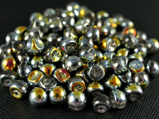 25 pcs Mushroom Button Pressed Beads, 9x8mm, Crystal Marea, Czech Glass