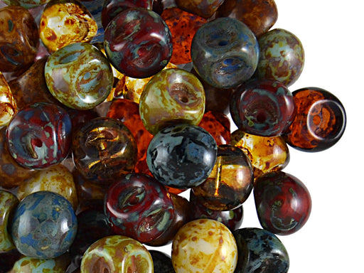 25 pcs Mushroom Button Pressed Beads, 9x8mm, Mix Travertine, Czech Glass