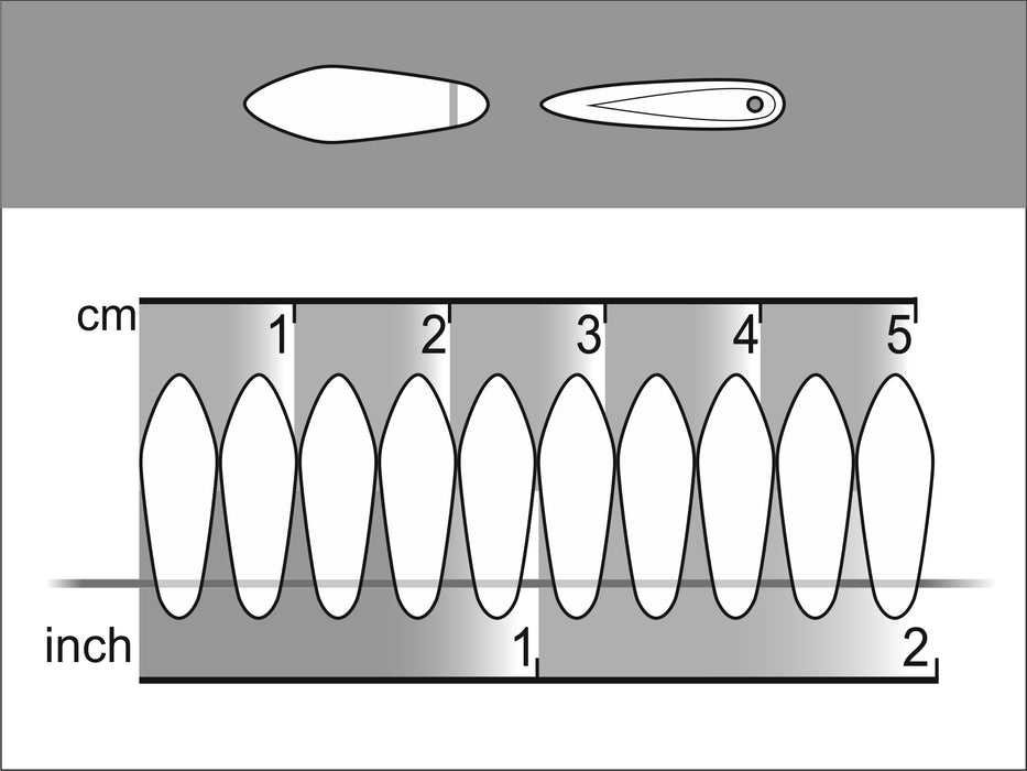 25 pcs Dagger Pressed Beads, 5x16mm, Chalk Ruby Luster, Czech Glass