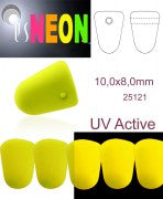 5 pcs Gumdrop NEON ESTRELA Beads, 10x8mm, Yellow, Czech Glass