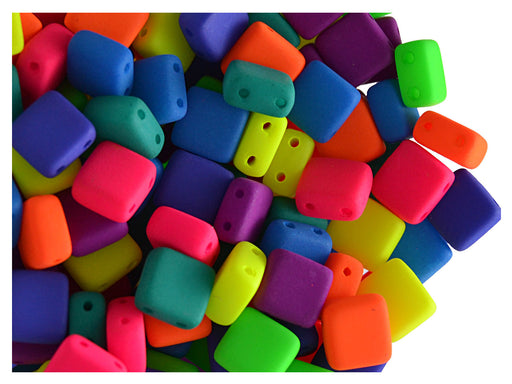 40 pcs 2-hole Tile NEON Beads, 6x6x3.2mm, Mix, Czech Glass