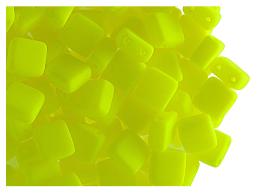 40 pcs 2-hole Tile NEON Beads, 6x6x3.2mm, Yellow, Czech Glass