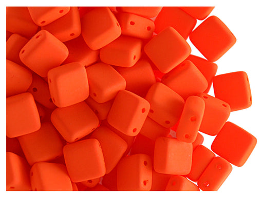 40 pcs 2-hole Tile NEON Beads, 6x6x3.2mm, Orange, Czech Glass